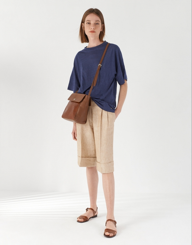 Blue linen top with hem-stitching