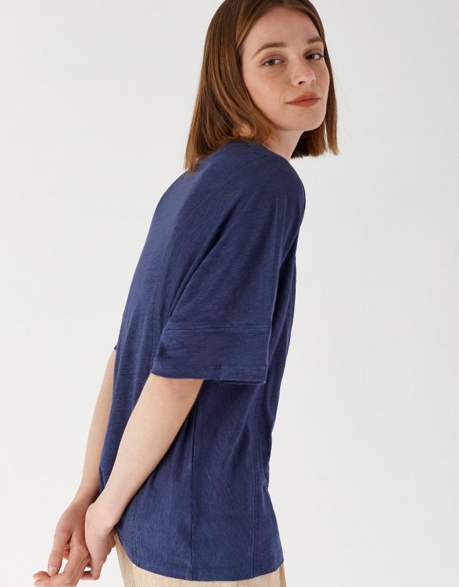 Camiseta lino azul con vainica