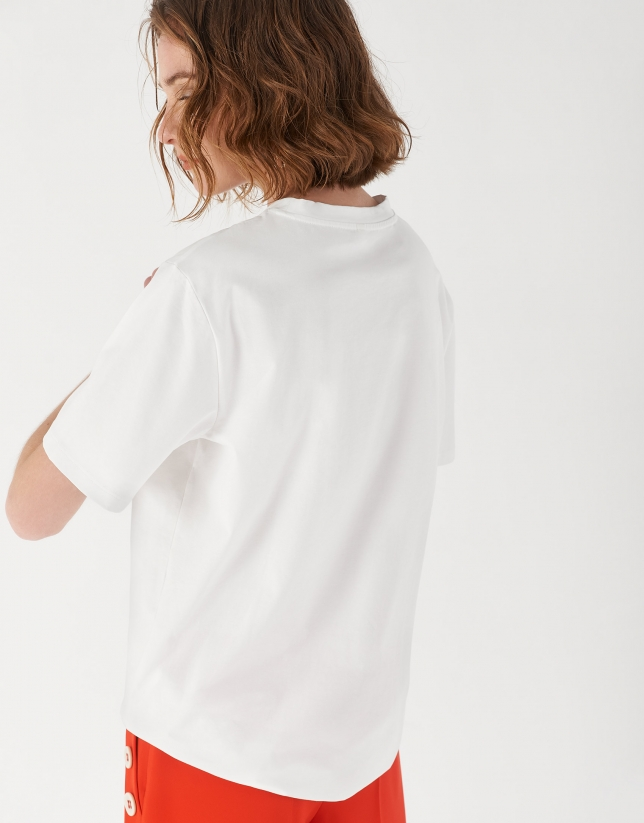 White top with fashion portrait drawing