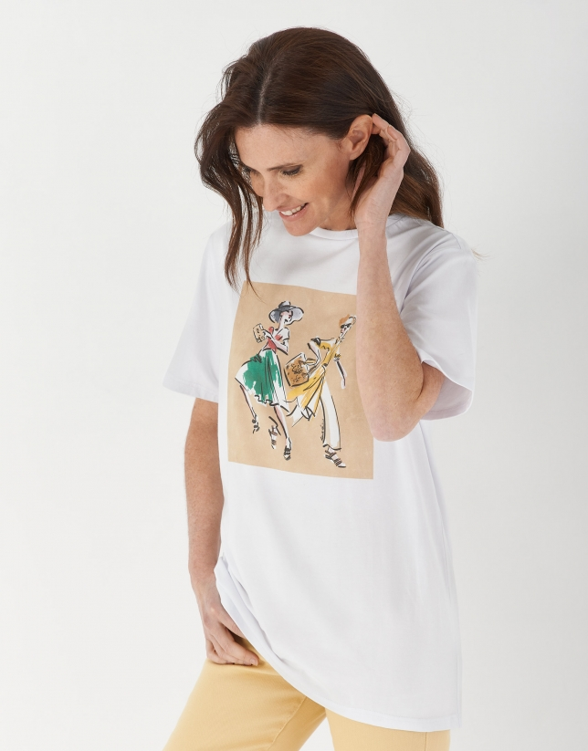 White top with fashion drawing of two figures