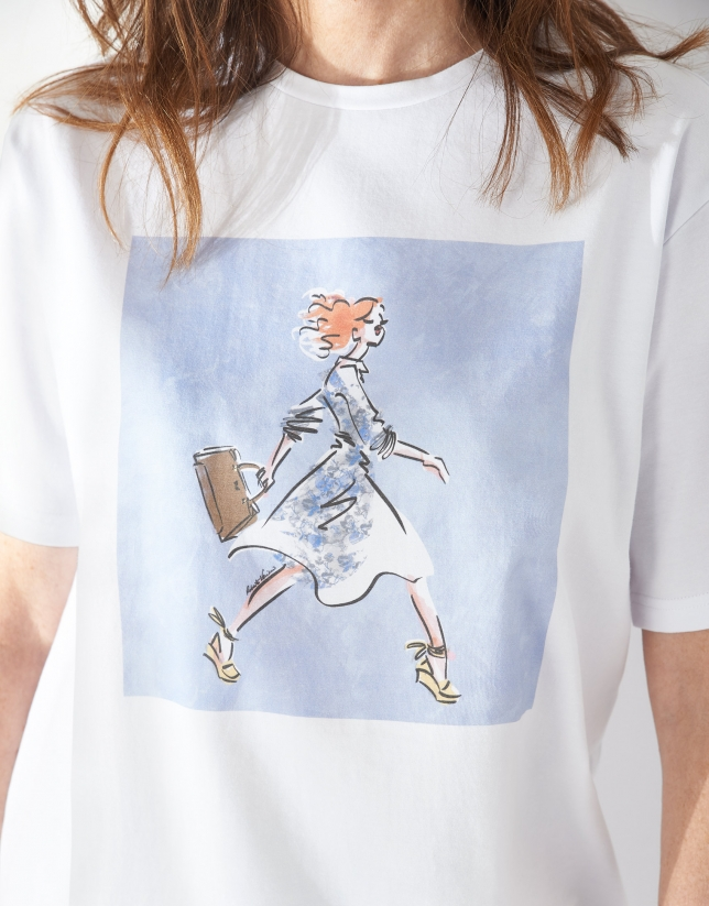 White top with fashion drawing of one figure