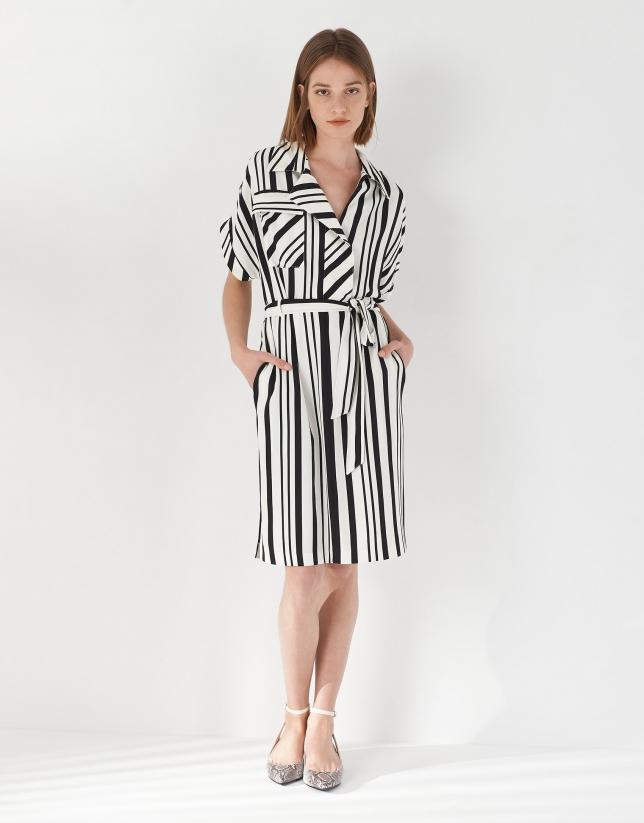 Black and white wide striped shirtwaist dress