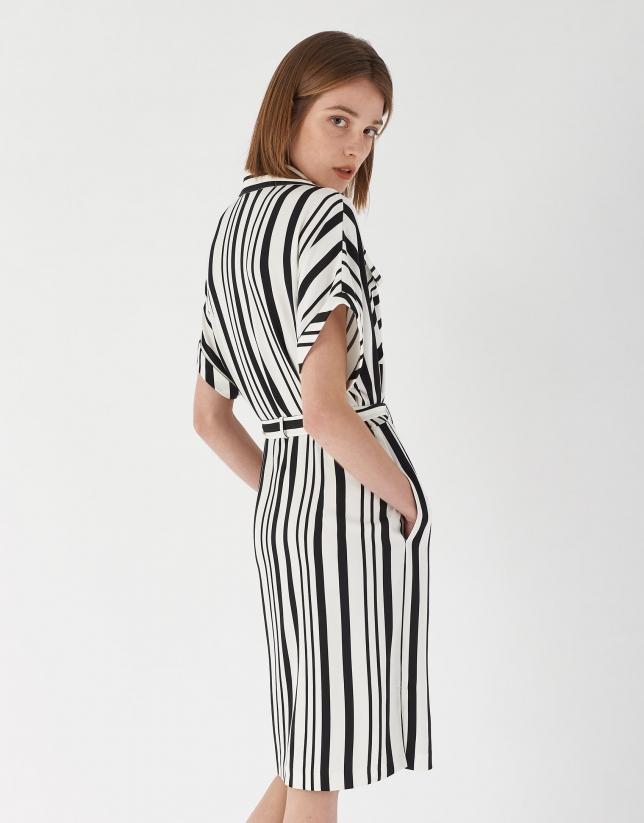 Vestido camisero raya ancha blanco y negro