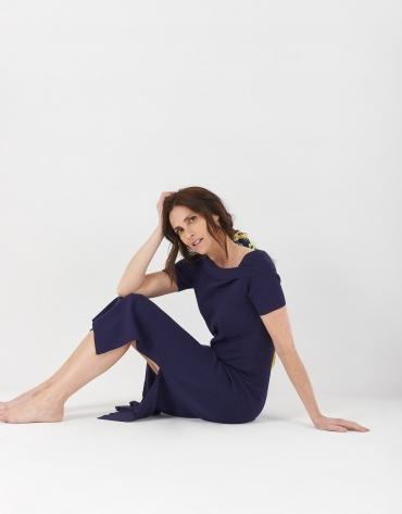 Navy blue canalé knit dress with boat neck