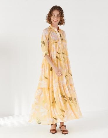 Yellow shirtwaist dress with gathered bodice