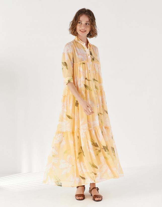 Vestido camisero cuerpo fruncido tonos amarillos