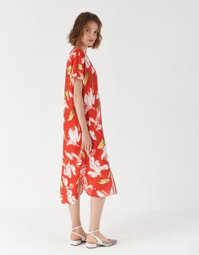Red floral print kaftan dress
