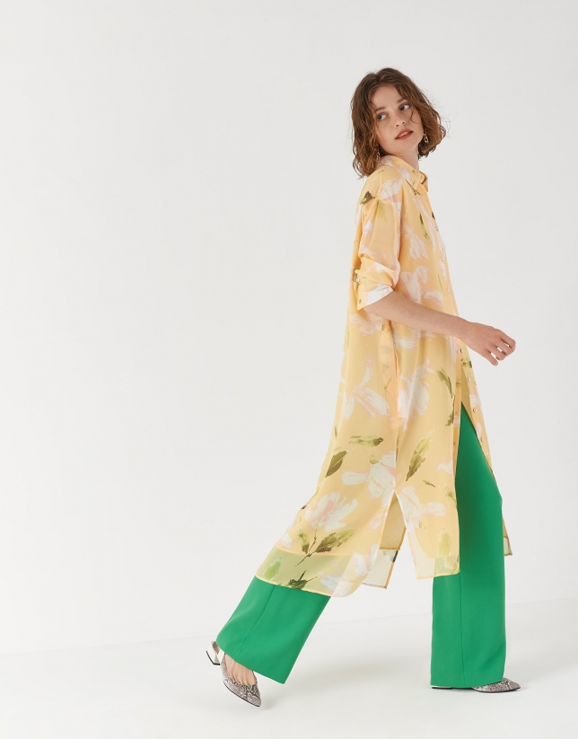 Floral print shirtwaist dress with short sleeves