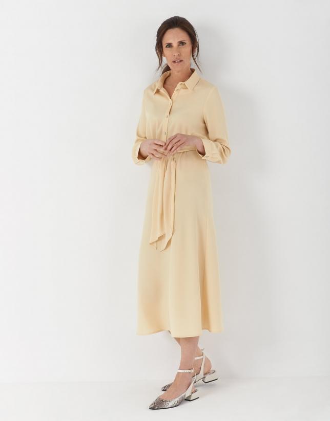 Vanilla-cream coloured shirtwaist dress with long sleeves