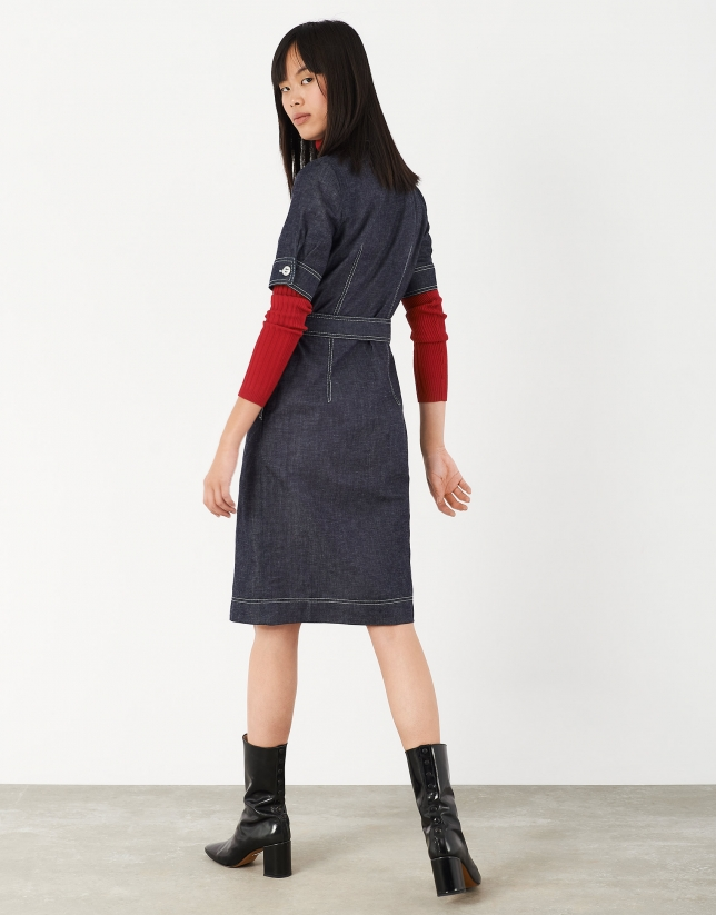 Blue jean shirtwaist dress with white backstitching