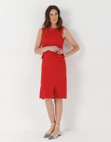 Red midi piqué dress