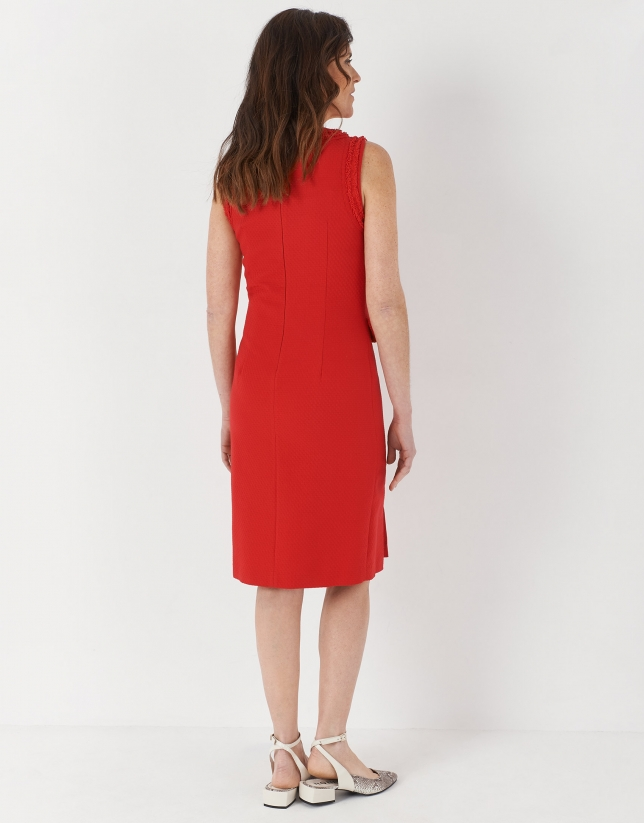 Red midi piqué dress