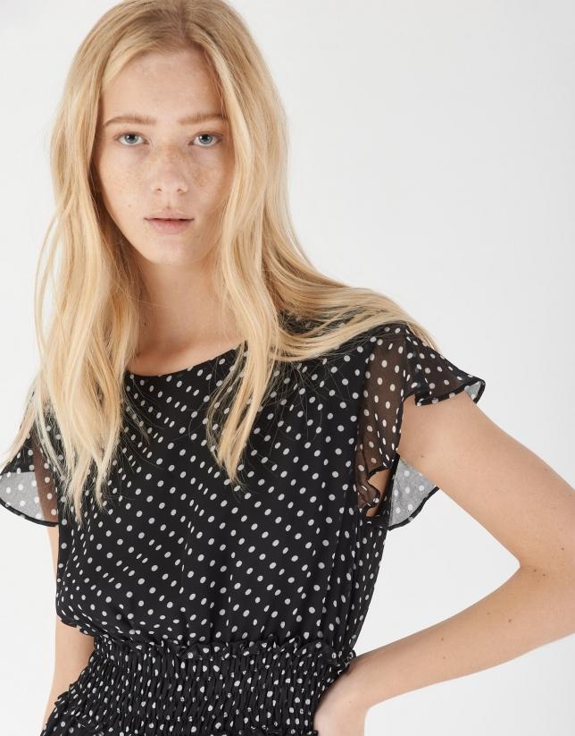 Black midi dress with dotted print
