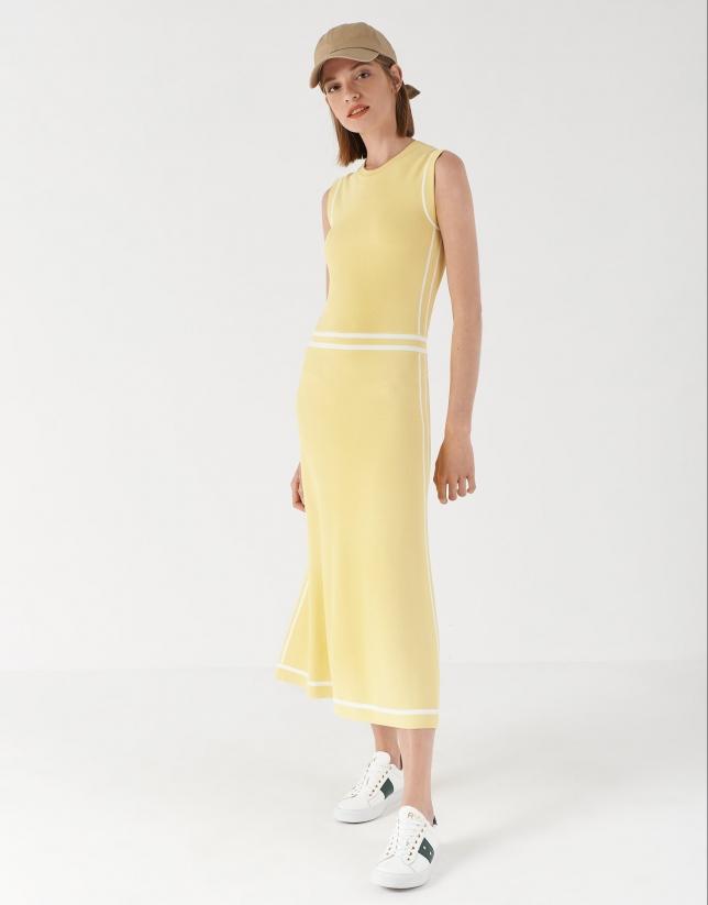 Yellow knit midi dress