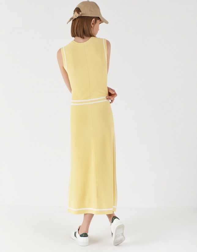 Vestido midi punto amarillo