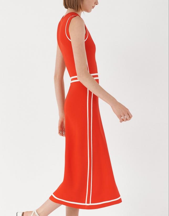 Red knit midi dress