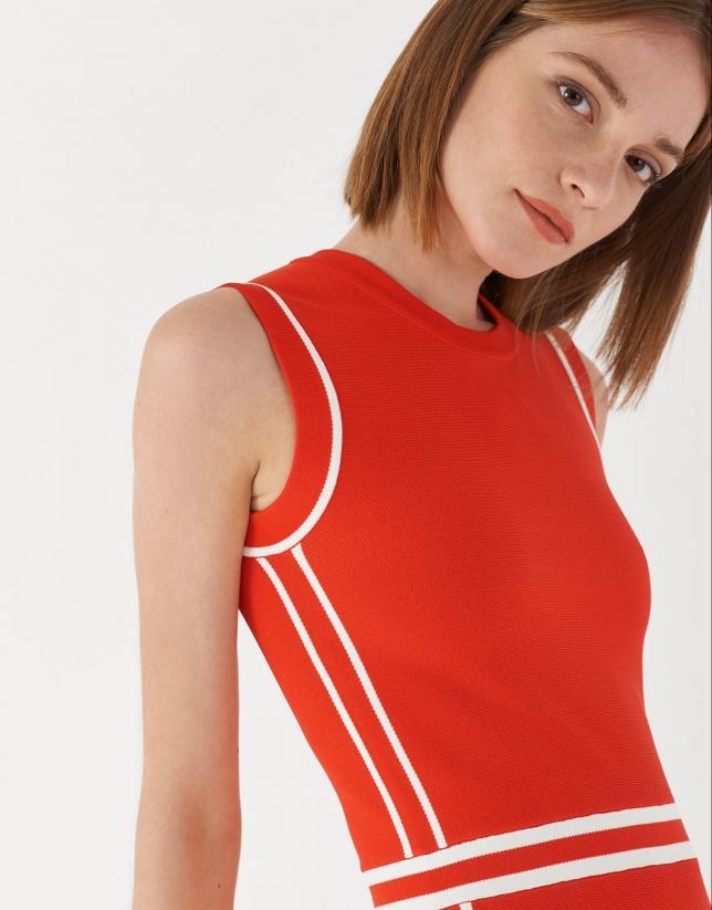 Vestido midi punto rojo