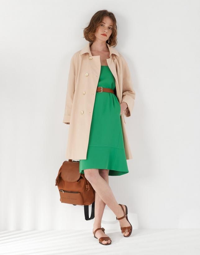 Vestido sisas bajo asimétrico verde