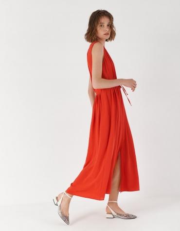 Red sleeveless dress with gathered V-neck