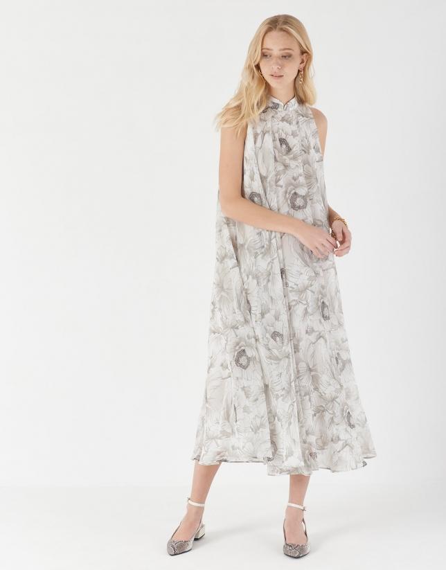 Vestido largo fluido estampado floral grises