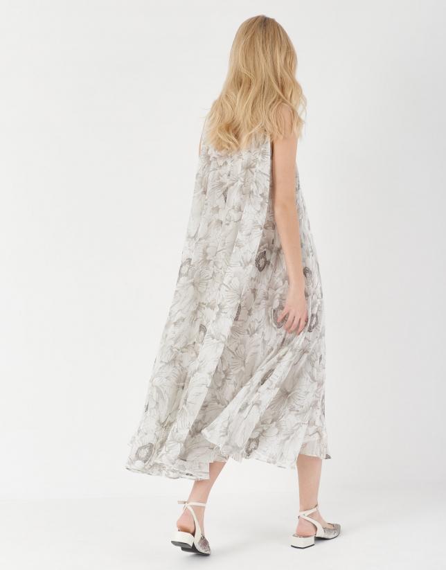 Gray floral print flowing long dress