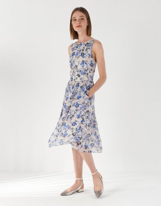 Vestido sin mangas estampado floral