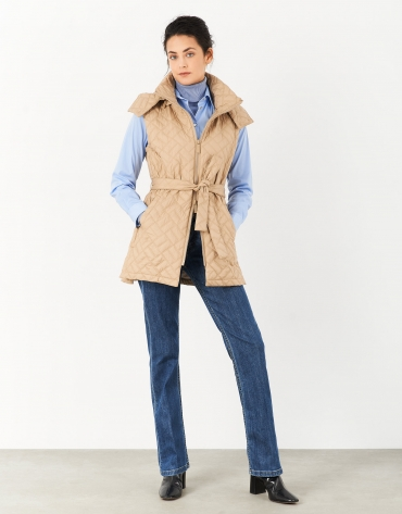 Beige quilted vest with hood