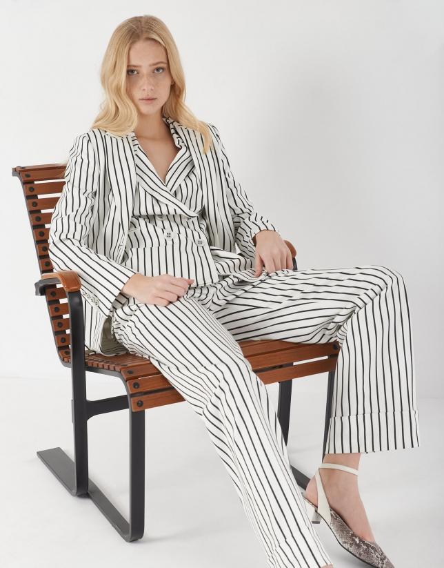 Black and white striped vest