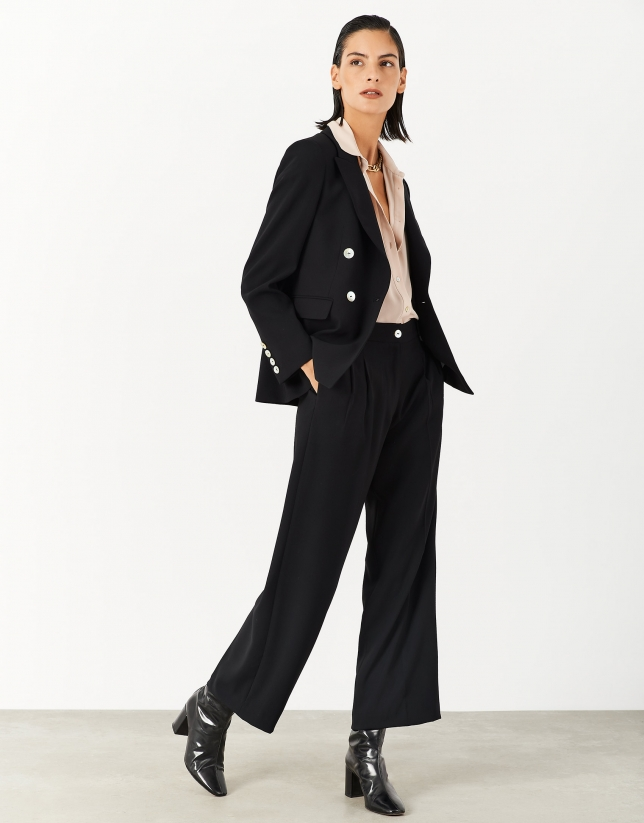 Back crepe double-breasted blazer
