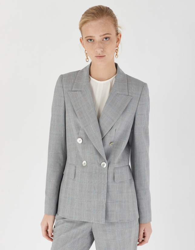 Gray and blue glen plaid double-breasted blazer