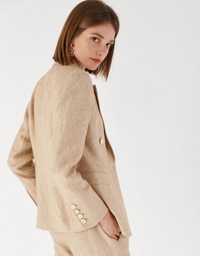 Sand-colored linen double-breasted blazer