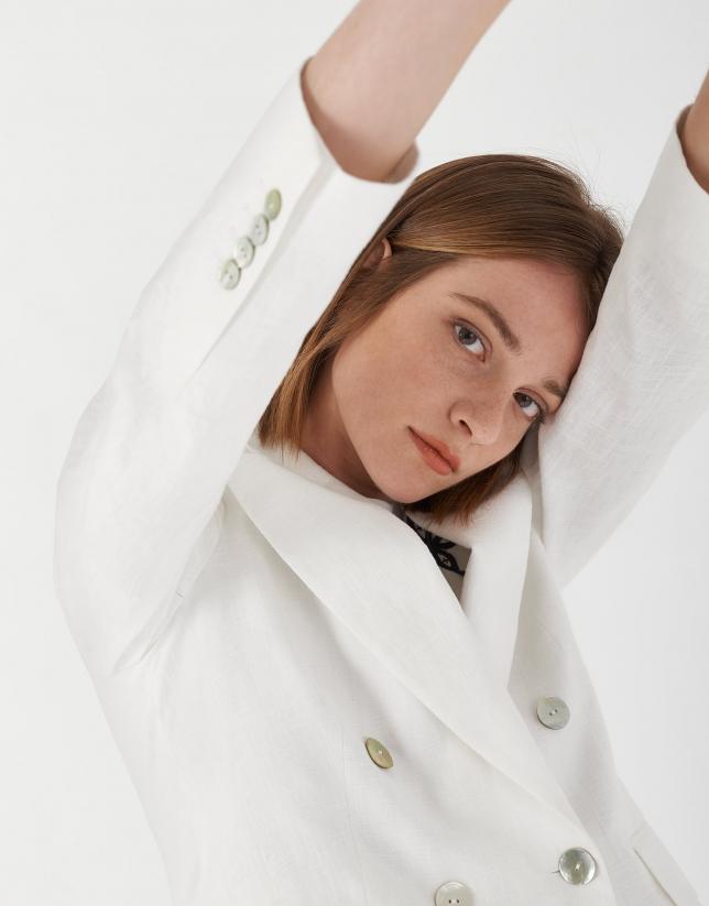 White ramie double-breasted blazer