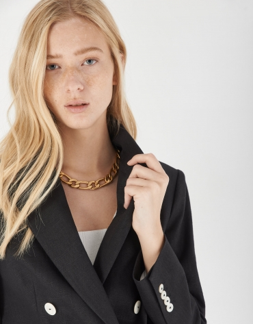 Black ramie double-breasted blazer