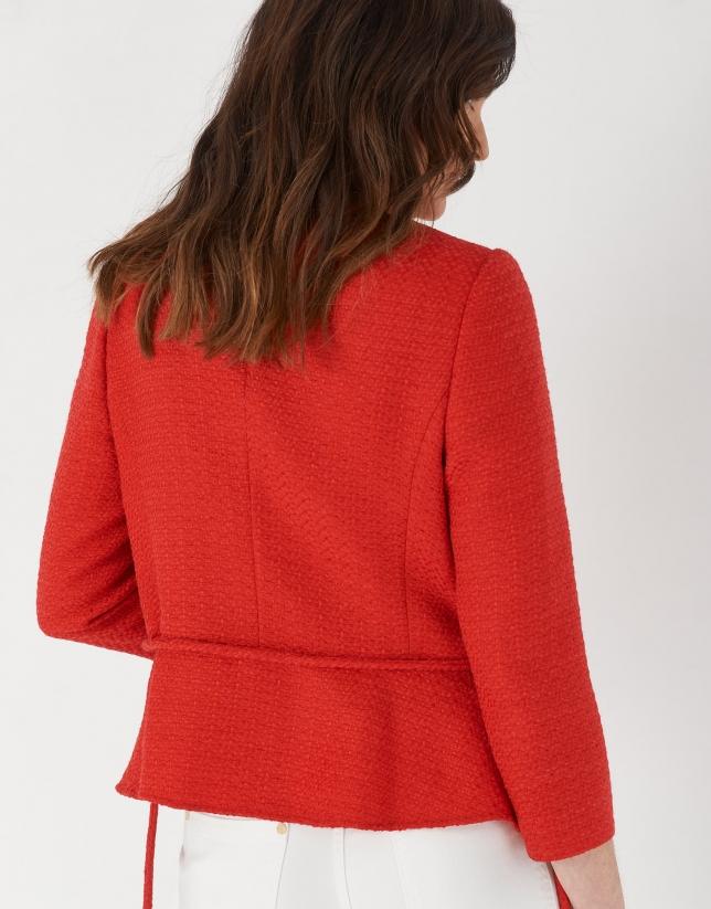 Carmine red jacket with belt