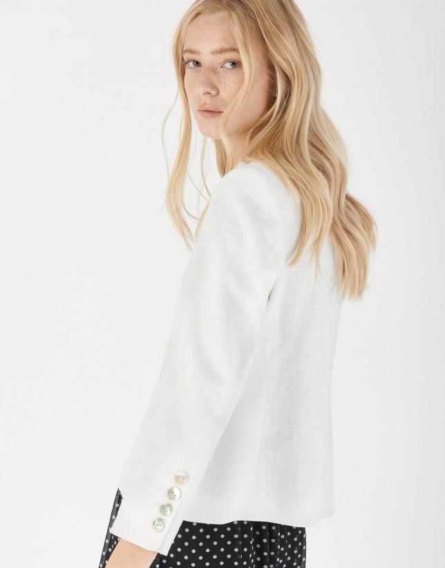 White short ramie fabric jacket