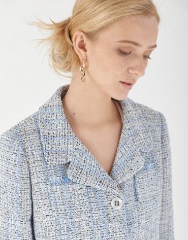 Blue tweed short jacket