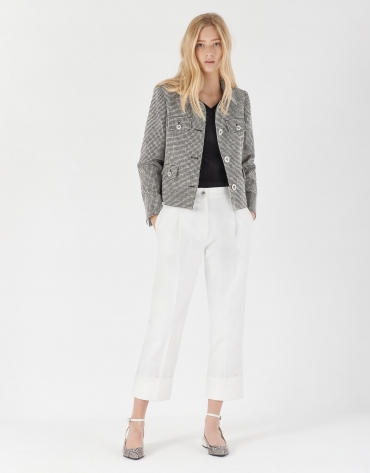Black and white jacquard short jacket