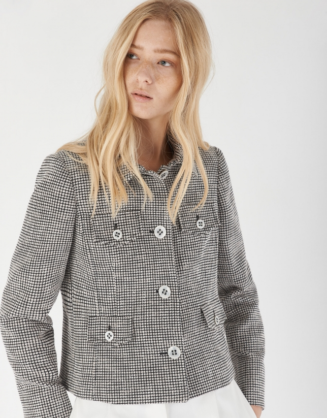 Black and white jacquard short jacket