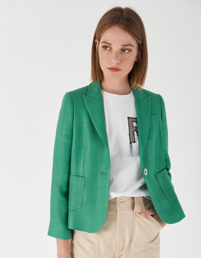 Green short pique jacket