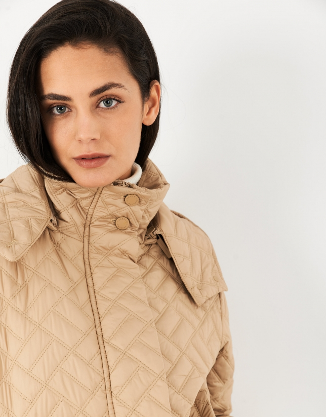 Sand-colored quilted windbreaker with hood