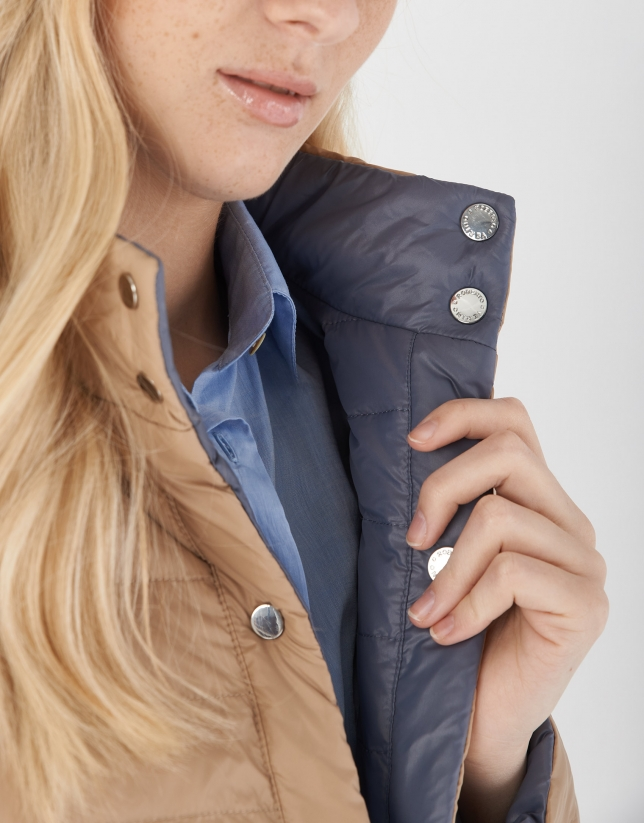 Gray and sandy quilted reversible windbreaker