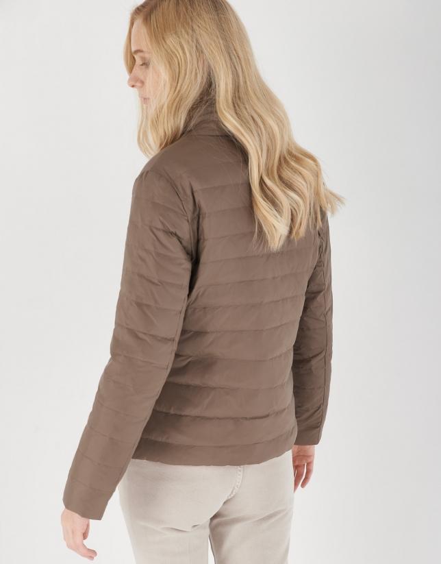 Cazadora reversible acolchada marrón/beige