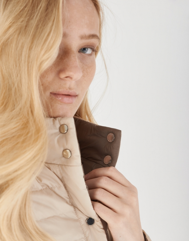 Brown and beige quilted reversible windbreaker
