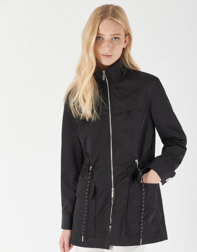Black light short trench coat