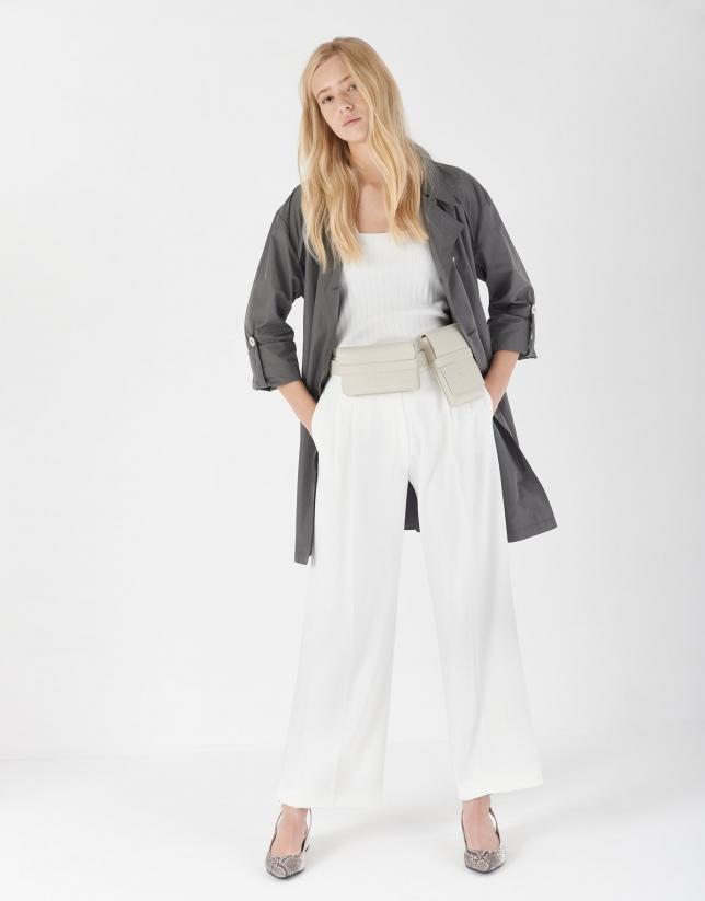 Gray gabardine trench coat