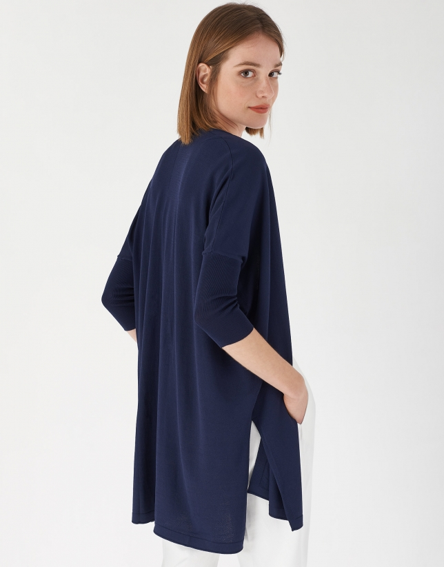Long black knit jacket