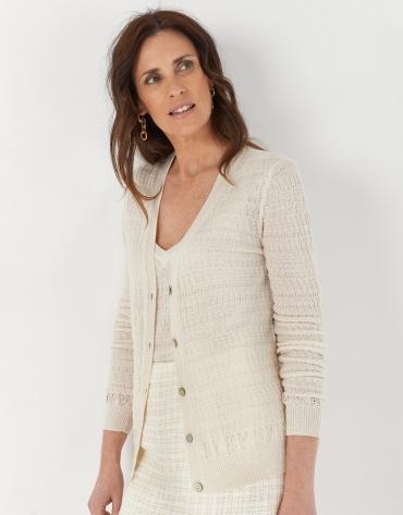 White openwork knit cardigan