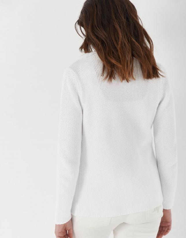 White seed stitch knit jacket