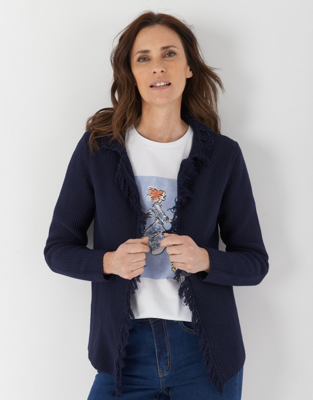 Navy blue seed stitch knit jacket