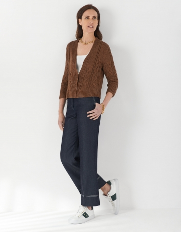Brown cable-stitch short cardigan